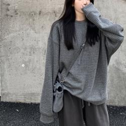 Ukawaii「単品注文」流行の予感 無地 長袖 グレーパーカー + ハイウエスト コットン パンツ 2点セットアップ