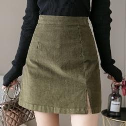 Ukawaii 柔らかくて優しい印象 シンプル ハイウエスト 膝上 Aライン スリット スカート