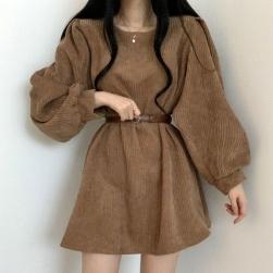 Ukawaii 品質いいな新品 コーデュロイ 韓国系 無地 パフスリーブ ベルト付き 着痩せ ショート丈 ワンピース