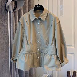 Ukawaii 大人可愛い ビジネス スウィート シングルブレスト 無地 ギャザー飾り 長袖 折り襟 シャツ