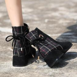 Ukawaii 気質アップ 通勤 パーティ リボン付き ジッパー リボン付き 切り替え 暖かい ショート丈ブーツ