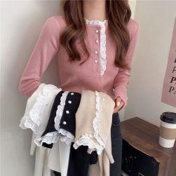 Ukawaii 韓国風ファッションスウィート 無地 定番 シンプル ボタン 長袖 レース Tシャツ