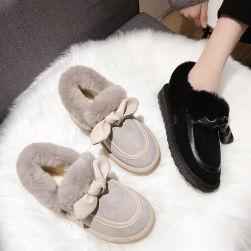 Ukawaii 韓国風ファッション 通勤 カジュアル 暖かい リボン付き 裏起毛 ショート丈ブーツ