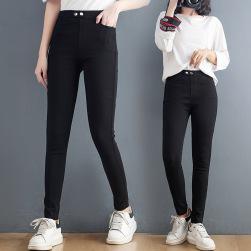 Ukawaii 流行の予感 ファッション カジュアル 無地 レギュラー丈 ハイウエスト タイトパンツ