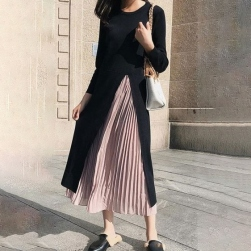 Ukawaii 韓国風ファッション 切り替え ギャザー飾り エレガント 気質 通勤 合わせやすい デートワンピース