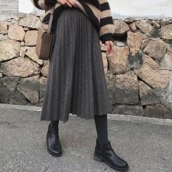 Ukawaii 上品な可愛さ 無地 定番 ハイウエスト 着痩せ シンプルプ リーツスカート