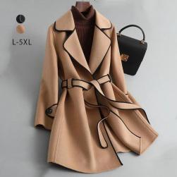 Ukawaii 気質満点 魅力 ファッション ベルト付き 長袖 折り襟 レディース コート