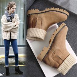 Ukawaii 可愛いデザイン 絶対欲しい 秋冬 切り替え 丸トゥ 暖かい 裏起毛 無地 2カラー 22-25.5 レディース ブーツ