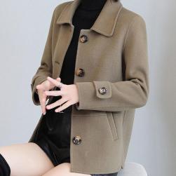 Ukawaii 気質アップ シングルブレスト 無地 ショート丈 長袖 スクエアネック コート