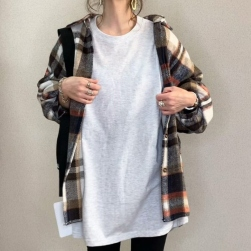 Ukawaii 着回し力抜群 カジュアル シングルブレスト レトロ チェック柄 折り襟 チェックシャツ