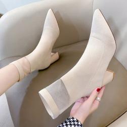 Ukawaii 22.5-24.5cm INS人気 ポインテッドトゥ メッシュ 切り替え シースルー ミドル丈ブーツ