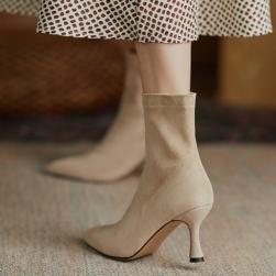 Ukawaii 22.5-25cm 美エレガント 気質 人気 無地 2色 スエード ポインテッドトゥ ピンヒール ブーツ