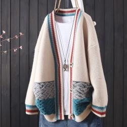 Ukawaii オリジナル ファッション 切り替え 配色 長袖 森ガール アウター