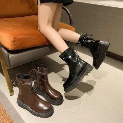Ukawaii おしゃれ度アップ カジュアル ブロックヒール PU ミドルヒール 秋冬 ミドル丈ブーツ