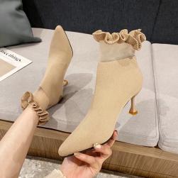 Ukawaii 22-24.5cm 韓国風ファッション おしゃれ フリル ポインテッドトゥ ピンヒール ブーツ