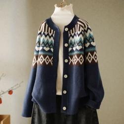 Ukawaii 人気上昇中レトロファッションスタンドネック長袖配色森ガールアウター