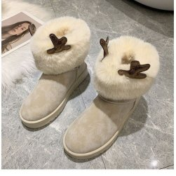 Ukawaii 今季注目 カジュアル 秋冬 暖かい 丸トゥ PU ショート丈ブーツ