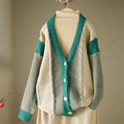Ukawaii 人気を独占中 ファッション 配色 長袖 細見せ レディース 森ガール アウター