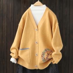 Ukawaii 人気アイテム 配色 長袖 ゆったり レディース 森ガール アウター