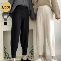 Ukawaii 韓国風ファッション エレガン シンプル ハイウエスト ギャザー飾り 9分丈 無地 カジュアルパンツ
