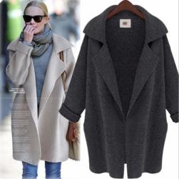 Ukawaii 人気を独占中♡ 優しい色合い 北ヨーロッパ系 ロング 膝上丈 ボタン付き 折り襟 シングルブレスト コート