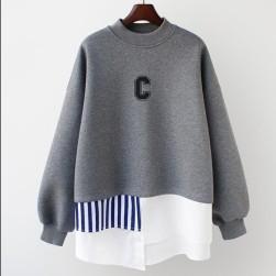 Ukawaii ファッション 切り替え 配色 フェイク・レイヤード ゆったり 厚手 合わせやすい パーカー