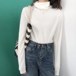 Ukawaii 韓国風ファッション シンプル プルオーバー 長袖 春秋 ハイネック ニットシャツ