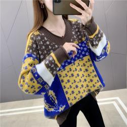 Ukawaii レトロ 配色 vネック ニット 長袖 ゆったり おしゃれ 大きいサイズ セーター