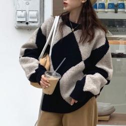 Ukawaii 欠かせない 定番 配色 ニット ラウンドネック 長袖 ゆったり 合わせやすい セーター