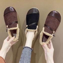 Ukawaii 22.5-25cm レトロ ファッション 柔らか 保温 フワフワ 合わせやすい フラットシューズ
