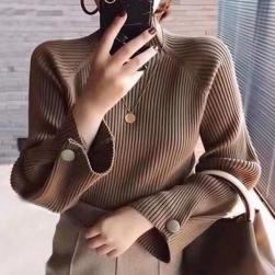 Ukawaii 今だけ超お得 ハーフネック 無地 長袖 ボタン飾り 4色展開 S-XL レディース ニットセーター