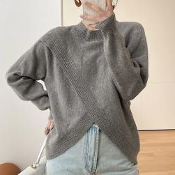 Ukawaii 高級感 ファッション プルオーバー 春秋 ハーフネック 無地 ニットセーター