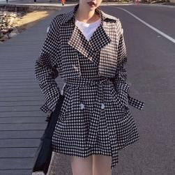 Ukawaii 気質アップ 通勤/OL ショート丈 シングルブレスト チェック柄 長袖 トレンチコート