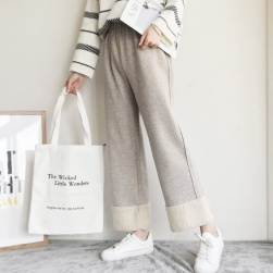 Ukawaii 可愛いデザイン スウィート 韓国系 ハイウエスト 切り替え 裹起毛 無地 カジュアルパンツ