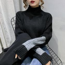 Ukawaii 一枚で視線を奪う カジュアル プルオーバー 切り替え 長袖 セーター