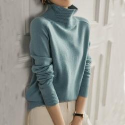 Ukawaii 韓国風ファッション 柔らかくて優しい印象 エレガント シンプル フェミニン 無地 春秋 ハイネック ニットセーター
