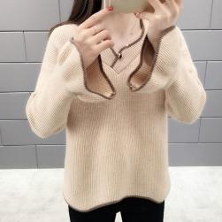 Ukawaii 柔らかくて優しい印象 シンプル ファッション 無地 長袖 スピーカースリーブ 切り替え ニットセーター