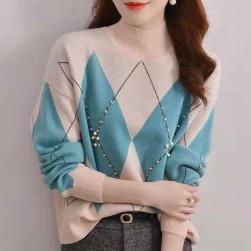 Ukawaii 目を奪われる 定番 シンプル 幾何模様 長袖 ビーズ ニット セーター