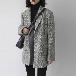 Ukawaii 人気集中アイテム 配色 厚手 長袖 折り襟 レディース コート