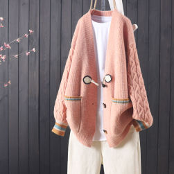 Ukawaii レトロ 保温性良い 配色 4色 長袖 vネック 森ガールアウター
