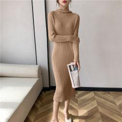 Ukawaii 韓国風ファッション 定番 シンプル 無地 4色 ハイネック スリム 合わせやすい ニットワンピース