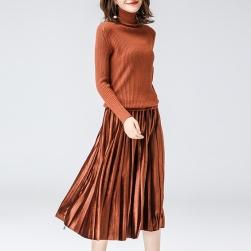 Ukawaii 人気を独占中 レトロ ハイネック 切り替え ギャザー飾り スカート フェイク・レイヤード ニットワンピース