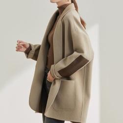 Ukawaii 高級感 シンプル 配色 ボタン 切り替え 折り襟 コート