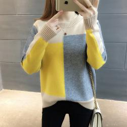 Ukawaii 目を奪われる 配色 ラウンドネック 切り替え ゆったり 新作 シンプル ニット セーター