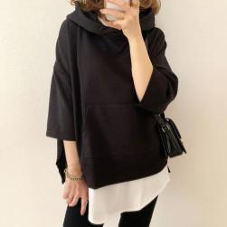 Ukawaii 上品な可愛さ ゆったり カジュアル 切り替え 配色 コットン フード付き 七分袖 パーカー