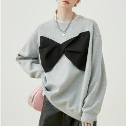 Ukawaii 個性的なデザイン おしゃれ度アップ 配色 長袖 リボン ラウンドネック パーカー