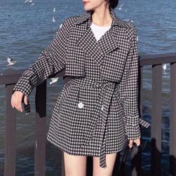 Ukawaii 上品な可愛さ 若見え 折り襟 チェック柄 長袖 レディース コート