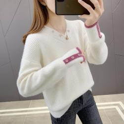 Ukawaii 全4色 エレガント 柔らか vネック 配色 ゆったり 長袖 ニット セーター