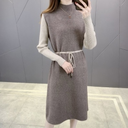 Ukawaii 柔らかくて優しい印象 ファッション ボウタイ 配色 ボウタイ ハーフネック ロング ニットワンピース
