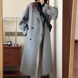 Ukawaii 大活躍 韓国系 ダブルブレスト 無地 折襟 ロング コート